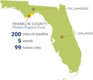 Map of Franklin County Florida on Florida's Forgotten Coast
