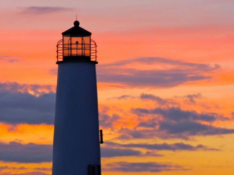 St. George Island Lighthouse with the sun setting behind