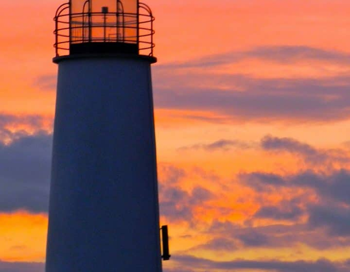 St. George Island Lighthouse with the sunset in the background