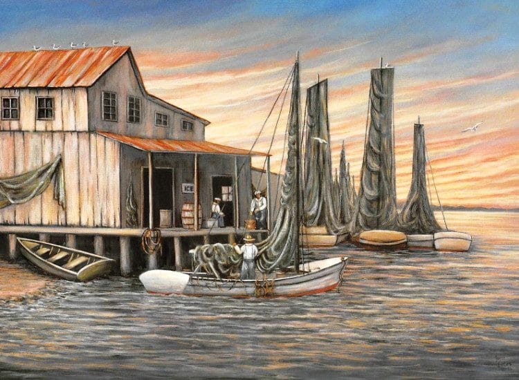Apalachicola Art Walk Painting from the Event - Old time shrimp boats