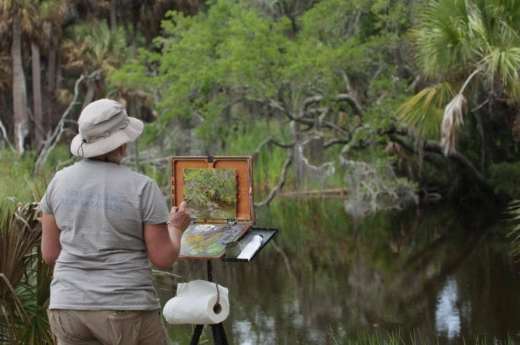 Plien Air Painter Painting The Apalachicola River