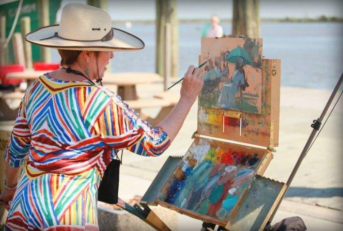 Plein Air Artist Painting at the Apalachicola Riverfront Park