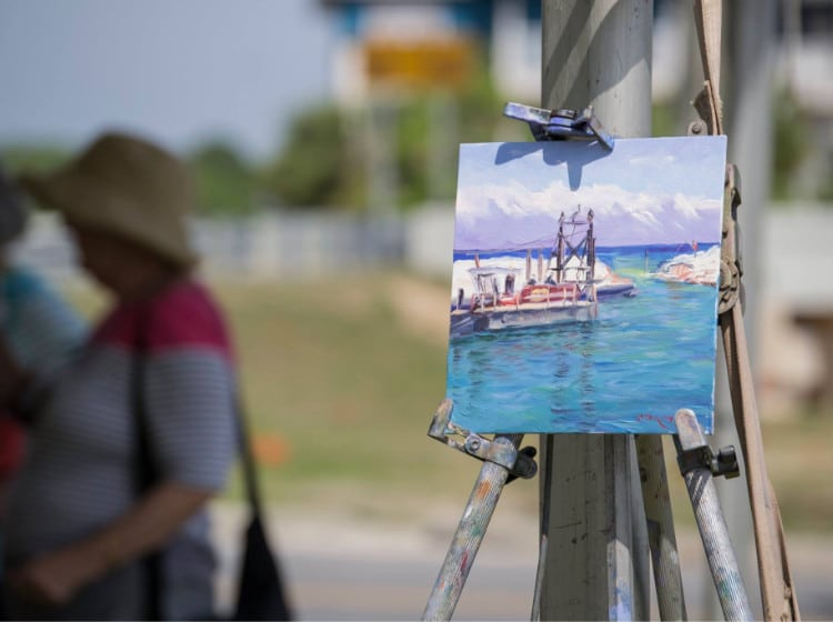 plein air painting of the water and boats
