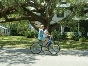 Couple riding bikes in Apalachicola