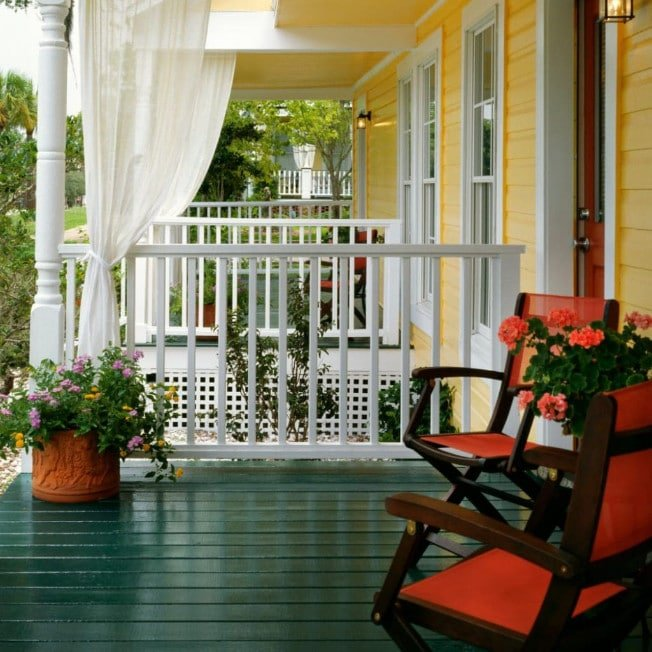 Porch Seating at Bed and Breakfast in Apalachicola Florida