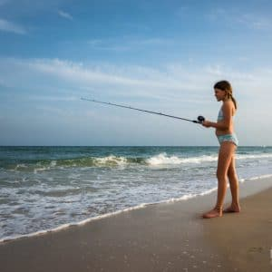 Young Girl Fishing on St. George Island