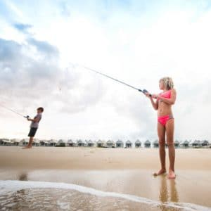 Kids Shore Fishing on St. George Island, Florida