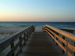 Boardwalk to an empty beach