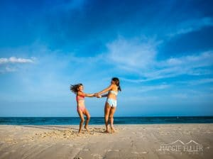 Little girls playing on SGI beach