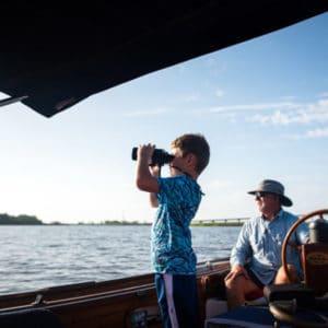 Young boy exploring Apalachicola