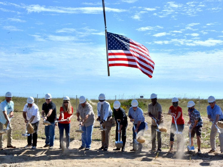 ground-breaking ceremony for the new restroom facilities at the center of St. George Island