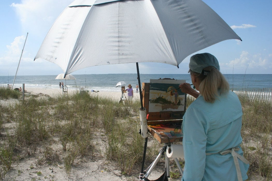 Artist painting beach on St. George Island FL