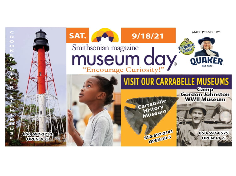 Flyer for Smithsonian Museum Day at all three Carrabelle, FL museums