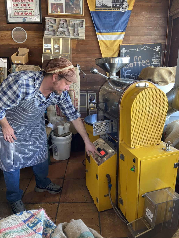 Kirk roasting coffee in Apalachicola Florida