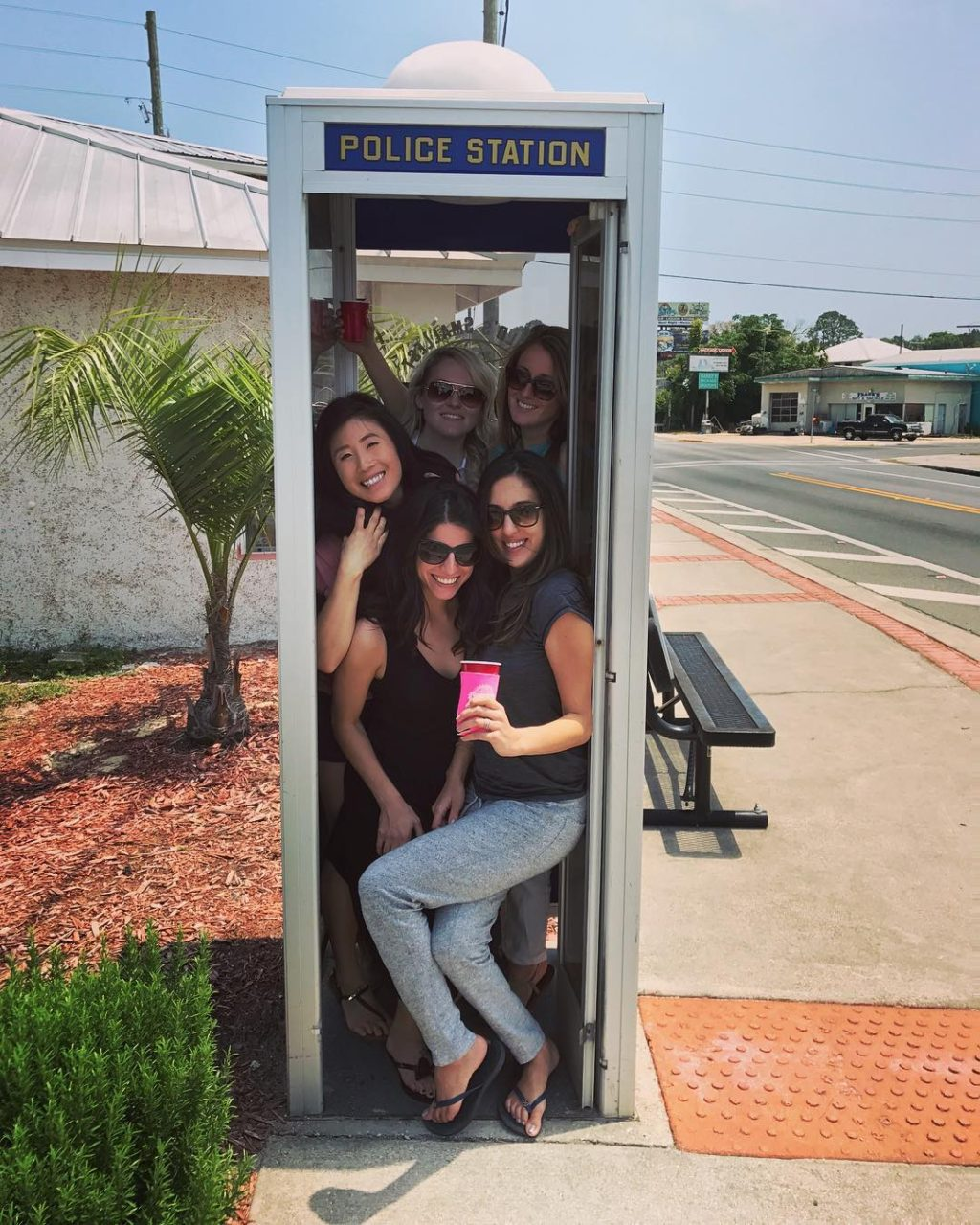 Young Ladies in Smallest Police Station in the World Carrabelle, FL