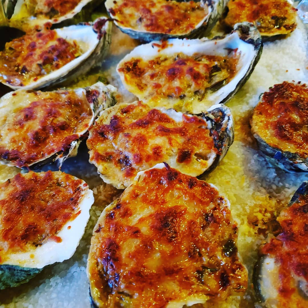 Baked Apalachicola Oysters with Cheese and Toppings
