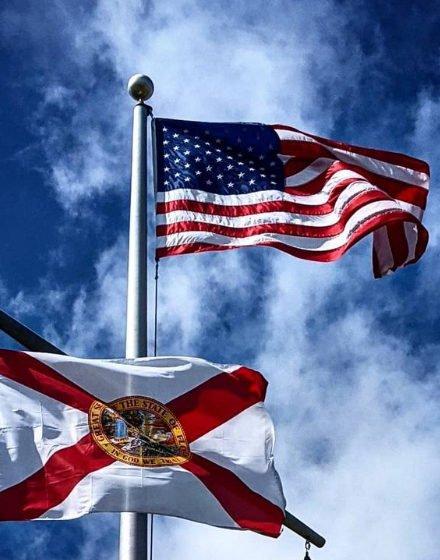 USA Flag and State of Florida Flag