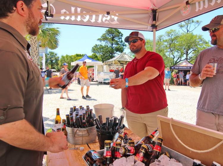 Man receiving beer at Brewfest