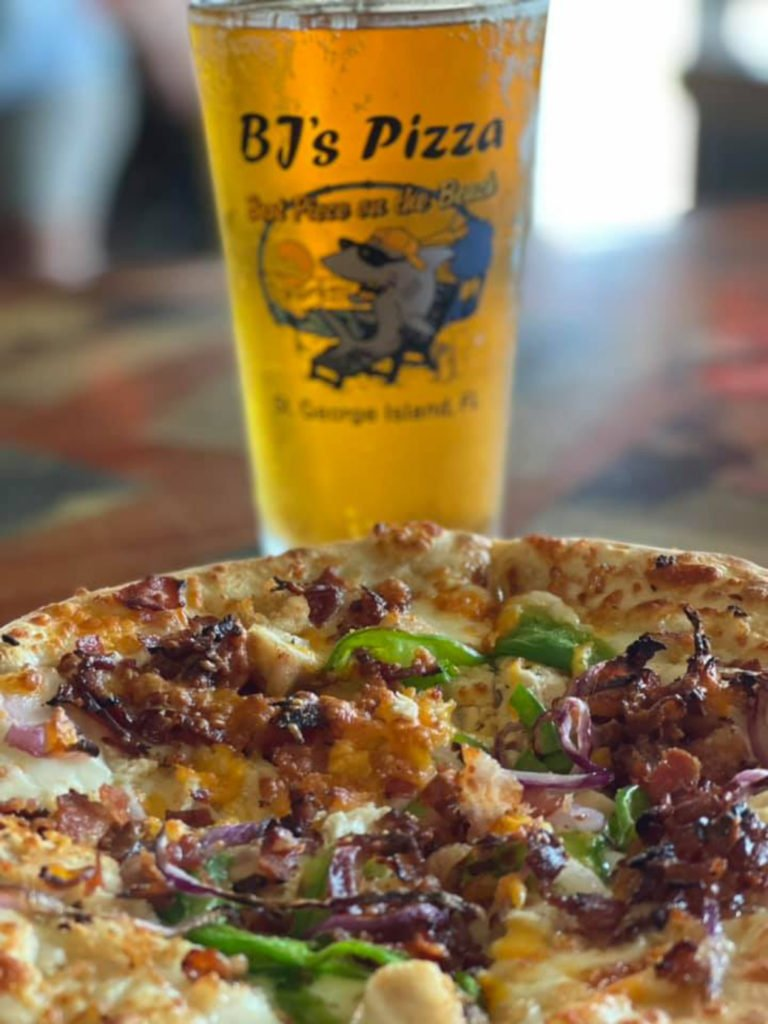 Beer and Pizza at BJ's Pizza on St. George Island